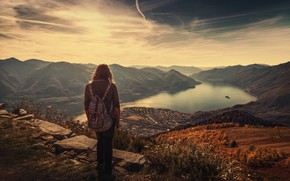 Picture mountains, view, height, girl, Carded