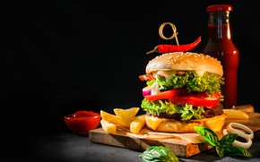 Picture French fries, food, hamburger, cutting Board, ketchup