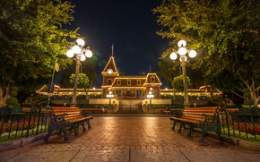 Wallpaper USA, CA, HDR, Anaheim, lights, night, benches, lights, trees, Disneyland, Park