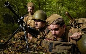 Wallpaper Guard, ammunition, The second world, equipment, Russian, DP, machine gun, WWII, soldiers, Soviet
