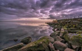 Picture sea, stones, pier, Bay, Netherlands, North Holland, Edam