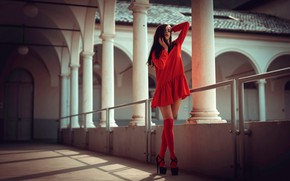 Picture model, makeup, figure, dress, hairstyle, shoes, columns, brown hair, legs, knee, in red, posing, standing, …
