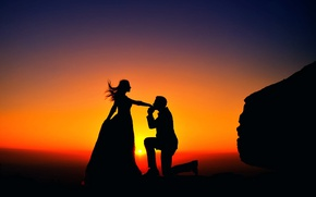 Picture girl, sunset, kiss, male, silhouettes, a couple in love