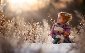 Picture winter, grass, snow, nature, children, girl, child