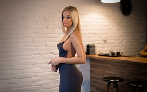 Picture girl, light, wall, chairs, makeup, figure, dress, hairstyle, blonde, beautiful, stand, bokeh, sexy