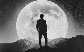 Wallpaper the moon, black and white, moon, guy, alone