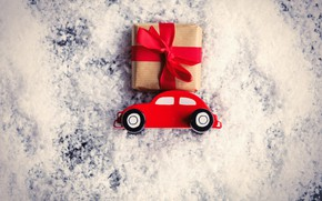 Picture car, snow, New Year, Christmas, gifts, Christmas, snow, Merry Christmas, Xmas, decoration, gifts, holiday celebration