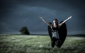Wallpaper field, girl, clouds, angel