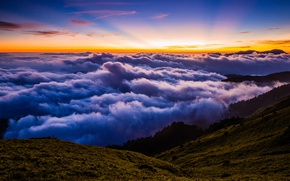 Picture forest, summer, the sky, clouds, rays, landscape, sunset, mountains, nature, fog, blue, hills, view, height, …