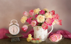 Picture flowers, bouquet, cookies, alarm clock, tulips, still life, marmalade, clove
