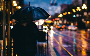 Picture machine, umbrella, rain, the city, lights, street, the evening, bokeh, Bloor