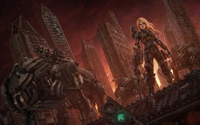 Picture girl, the city, house, fiction, robot, skyscraper, art, blonde, Aeon