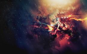 Picture space, stars, space, braids, gun, League of Legends, search, LOL, Jinx, Jinx