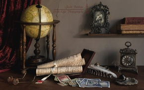 Picture photo, pen, watch, books, money, tube, glasses, still life, globe, scrolls
