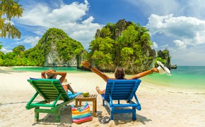 Picture nature, rock, stay, island, chairs, islands