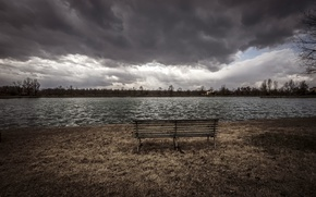 Picture clouds, river, bench