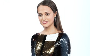 Picture look, girl, smile, earrings, dress, Alicia Vikander