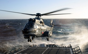 Picture star, fighter, sea, helicopter, Super Puma, European Air Force, Eurocopter CH-32