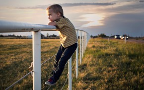 Picture road, the fence, boy, fence
