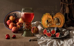 Picture cherry, wine, glass, pumpkin, still life, blind, peach, figs