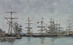 Picture ships, picture, Eugene Boudin, Eugene Boudin, Deauville