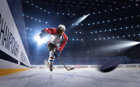 Wallpaper light, sport, ice, gloves, helmet, athlete, male, stick, hockey, washer, uniform, stadium, floodlight, hockey player, ...