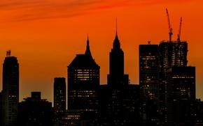 Picture skyscraper, home, New York, silhouette, USA, Manhattan