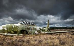 Picture field, the sky, the plane, scrap