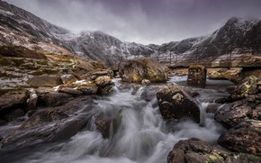 Picture mountains, bridge, river, stones, Wales, Snowdonia