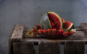 Picture watermelon, berry, still life, brush, tomato, Cheri