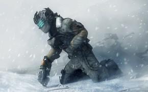 Picture winter, snow, costume, helmet, dead space, engineer, isaac clarke
