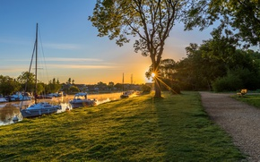 Picture sunset, river, tree, boats, yacht, pier, track, rivers, sunsets, England, Marinas
