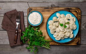 Picture Knife, Board, Plate, Plug, Food, Dumplings