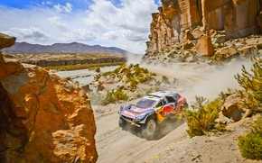 Picture Sand, Mountains, 2008, Rocks, Sport, Speed, Race, Peugeot, Lights, Red Bull, 302, Rally, Dakar, Dakar, …