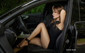 Wallpaper Guenter Stoehr, shoes, salon, makeup, legs, brown hair, sexy, pose, dress, chair, sitting, auto, driving, ...