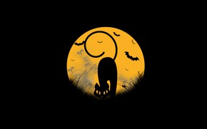 Picture cat, the moon, ghosts, Halloween, mouse