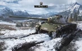 Wallpaper snow, mountains, tank, track, World of Tanks