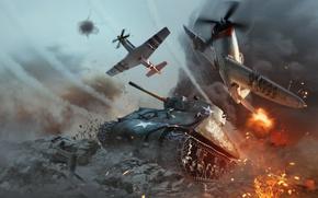 Wallpaper Gaijin Entertainment, Sherman Jumbo, Tanks, War Thunder, Aviation