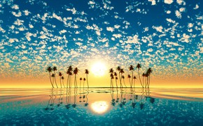Picture sunset, the sun, island, reflection, water, palm trees
