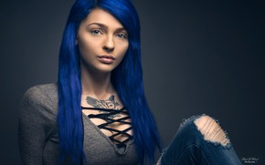 Picture background, model, hair, portrait, jeans, makeup, tattoo, hairstyle, beauty, jacket, blue, Melissa, torn, Chad Weed