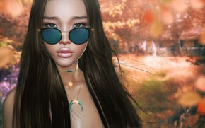 Picture girl, face, style, background, glasses