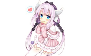 Picture art, girl, white background, anima, Kobayashi San Chi no Maid Dragon