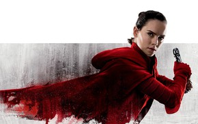 Wallpaper Daisy Ridley, poster, Rey, beauty, brunette, in red, Daisy Ridley, Star wars: the Last Jedi, ...