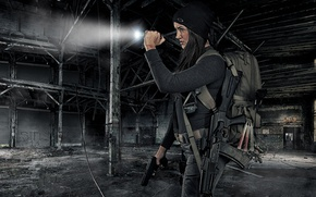 Wallpaper girl, face, weapons, ray, machine, flashlight, the ruins, satchel