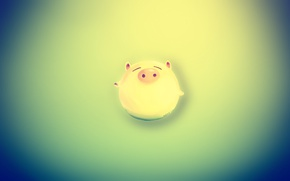 Picture green, blur, gradient, pig, happy pig