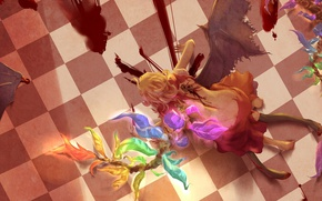Picture blood, the victim, wings, fight, spot, touhou, torn clothes, cruelty, Touhou Project, Remilia Scarlet, Flandre …