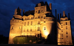 Picture night, castle, France, lighting, Chateau de Brissac