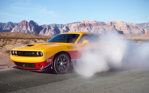 Picture design, style, smoke, Dodge Challenger