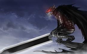 Picture sword, blood, game, armor, sky, anime, night, power, man, fight, ken, wolf, blade, Berserk, fang, …