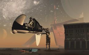 Picture transport, planet, construction, robots, Reparation